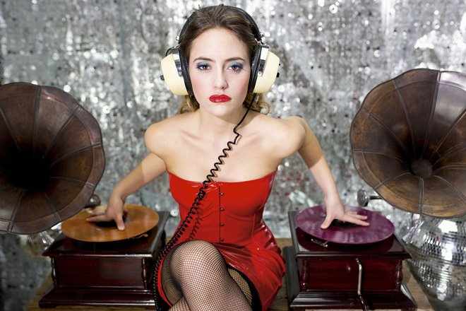 beautiful disco dj with gramophones