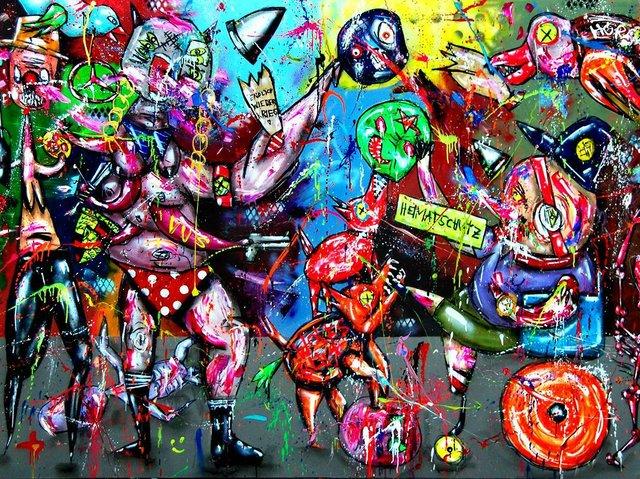 Marc Jung, HEIMATSCHUTZMINISTERIUM, 2018, mixed media on canvas, 200x300cm, courtesey Lachenmann Art.JPG